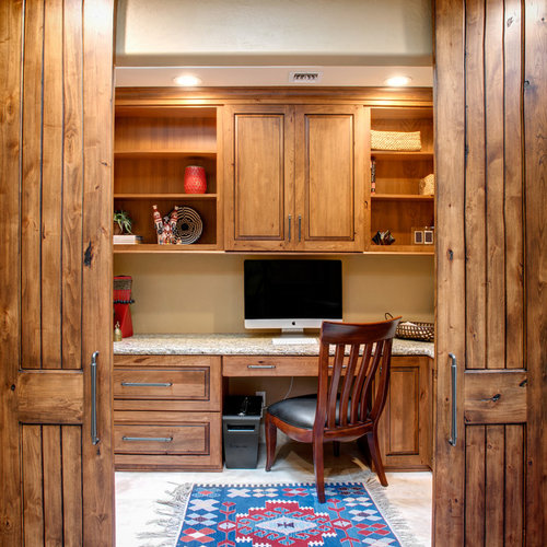 Small Modern Rustic Home Office Design Ideas, Remodels & Photos