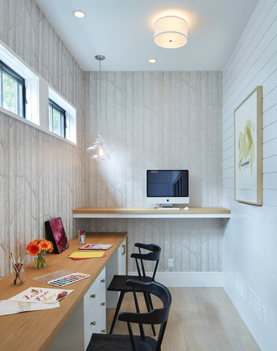Transitional Home Office by Charlie & Co. Design, Ltd