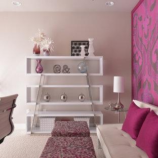 ダラスの小さいコンテンポラリースタイルのおしゃれな書斎 (グレーの壁、カーペット敷き、暖炉なし) の写真
