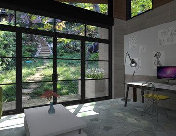 Modern Writing Studio in Lush Backyard
