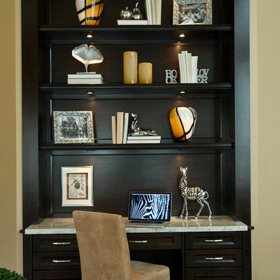 Home office - contemporary built-in desk home office idea in Vancouver