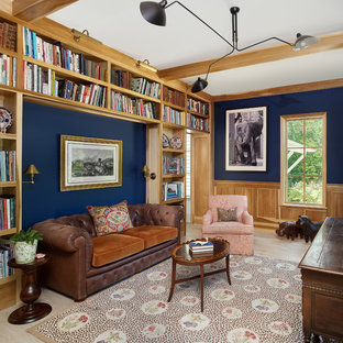 Inspiration For A Timeless Freestanding Desk Light Wood Floor And Beige  Floor Home Office Library Remodel