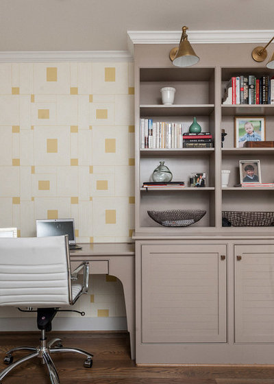 Transitional Home Office by Christopher Architecture & Interiors