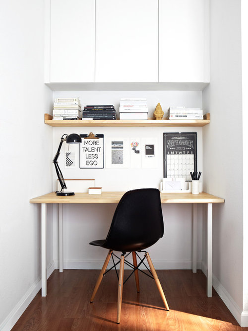 Inspiration for a small scandinavian freestanding desk dark wood floor home office remodel in san francisco