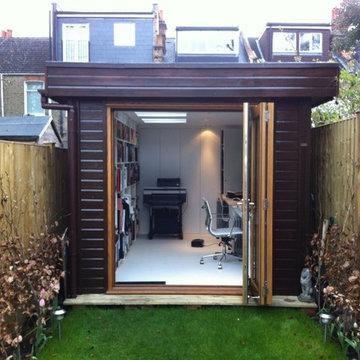 Ms S– London SW6 – 2.6m x 4.8m Contemporary Garden Office – 2.5m Maximum Height