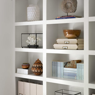 Inspiration for a coastal light wood floor home studio remodel in Atlanta with white walls