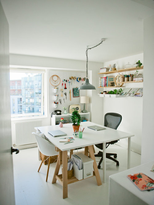 Photo Of A Scandi Craft Room In London With White Walls, Painted Wood  Flooring And Part 48