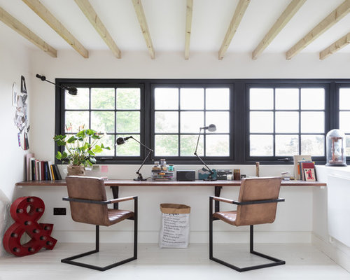 Industrial Home Office and Library Design Ideas, Renovations & Photos