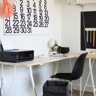 Inspiration for a scandinavian freestanding desk carpeted home office remodel in Other with white walls