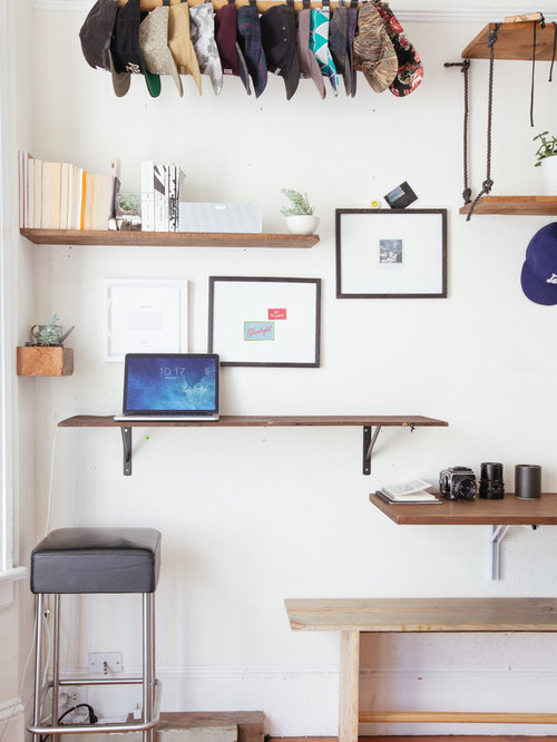 Example Of A Small Eclectic Built In Desk Home Studio Design In San  Francisco