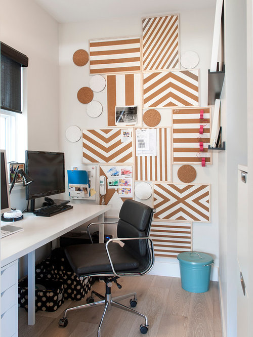 Pinboard Inspiration For A Contemporary Home Office Remodel In Vancouver With White Walls Medium Tone Wood