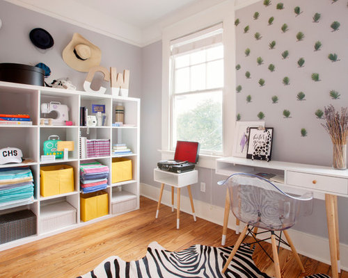 Example Of A Transitional Freestanding Desk Medium Tone Wood Floor And Brown Home Office Design