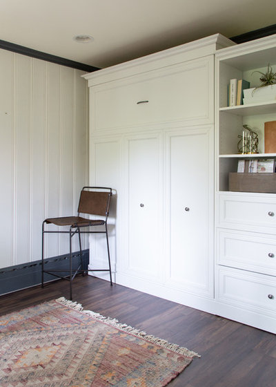 Transitional Home Office & Library by Rachel Loewen Photography