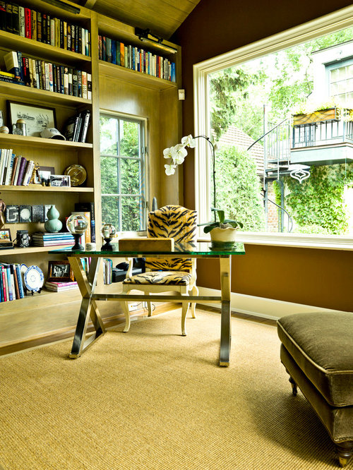 Traditional Home Library Design Ideas: Traditional Yellow Home Office And Library Design Ideas