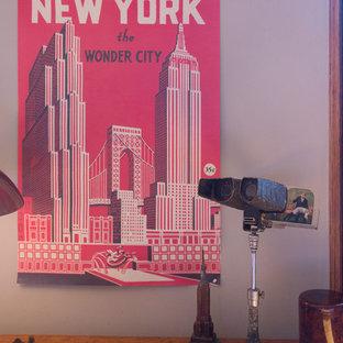 Свежая идея для дизайна: кабинет в стиле фьюжн - отличное фото интерьера