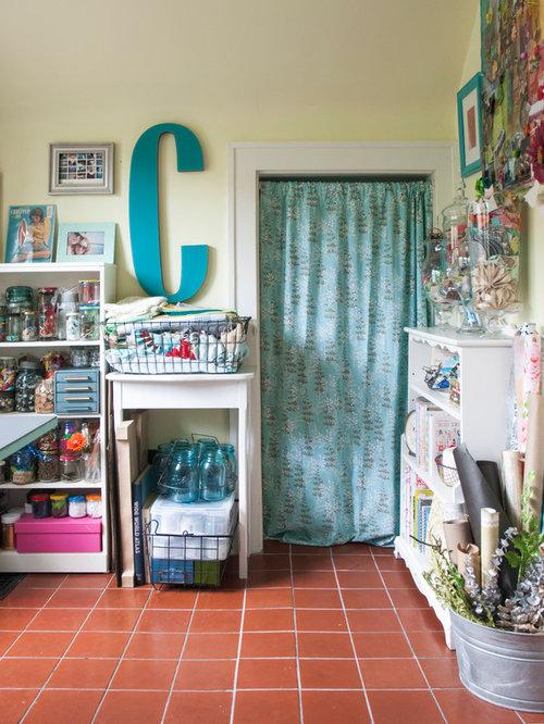 Small Eclectic Freestanding Desk Terra Cotta Floor Craft Room Idea In  Columbus With Yellow Walls Part 49