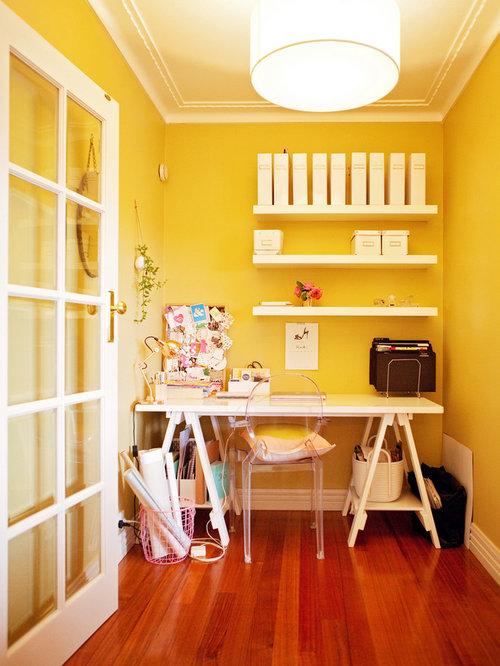 Moderne arbeitszimmer mit gelber wandfarbe ideen design bilder houzz - Arbeitszimmer wandfarbe ...