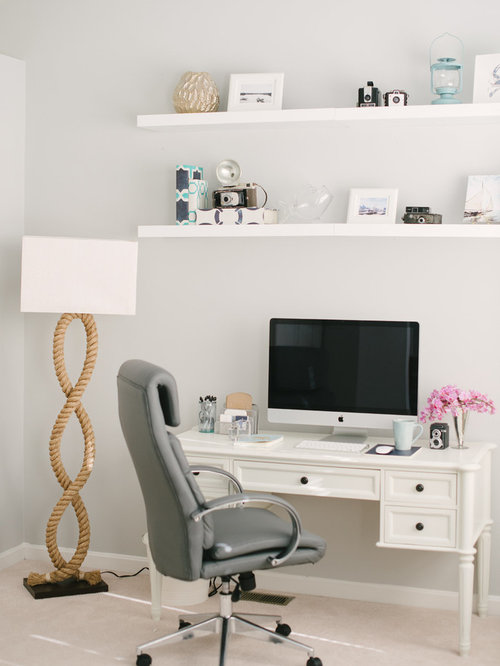 Beach Style Freestanding Desk Carpeted Study Room Idea In Baltimore With  Gray Walls