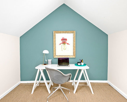 home office design pictures. photo of a small midcentury home office with blue walls, carpet and freestanding desk design pictures h