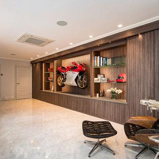 バッキンガムシャーのモダンスタイルのおしゃれなホームオフィス・仕事部屋 (大理石の床、白い床) の写真