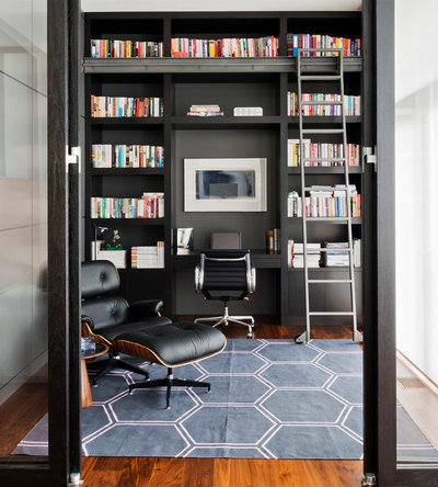 Contemporary Home Office & Library by GreenGold Construction Ltd