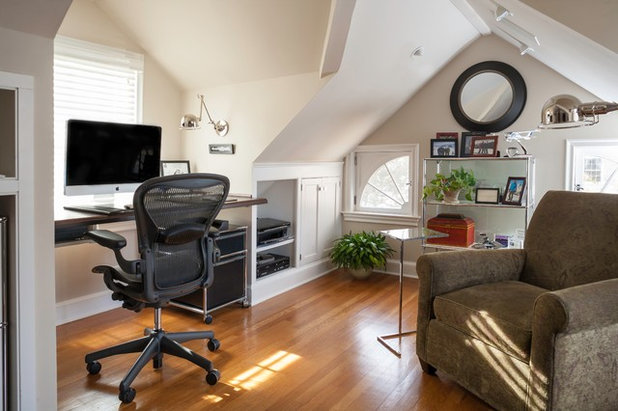 Transitional Home Office by Shelter Interiors LLC