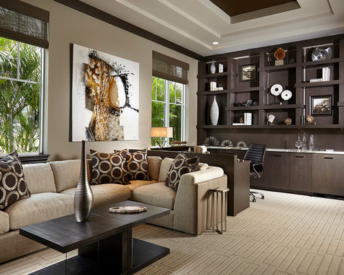 Example Of A Large Transitional Built In Desk Carpeted And Beige Floor Study Room Design