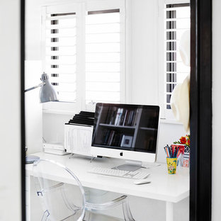 Inspiration for a transitional freestanding desk home office remodel in Brisbane with white walls