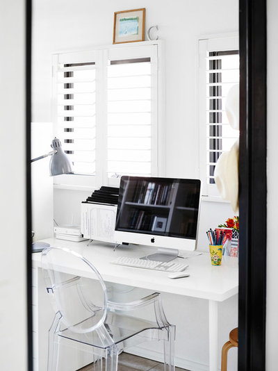 Transitional Home Office by Claire Stevens Interior Design