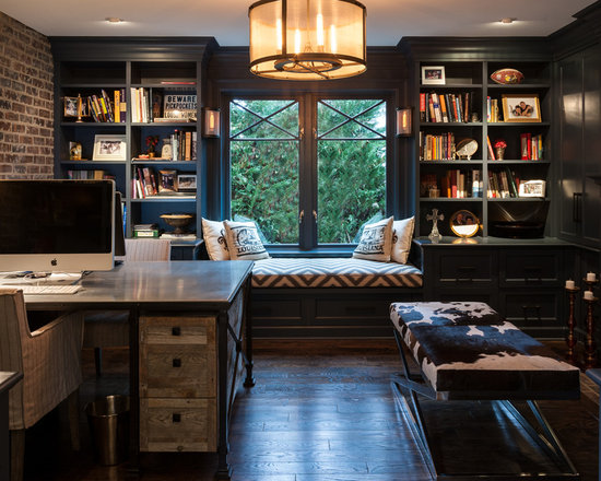 mid-sized industrial home office design ideas, remodels & photos