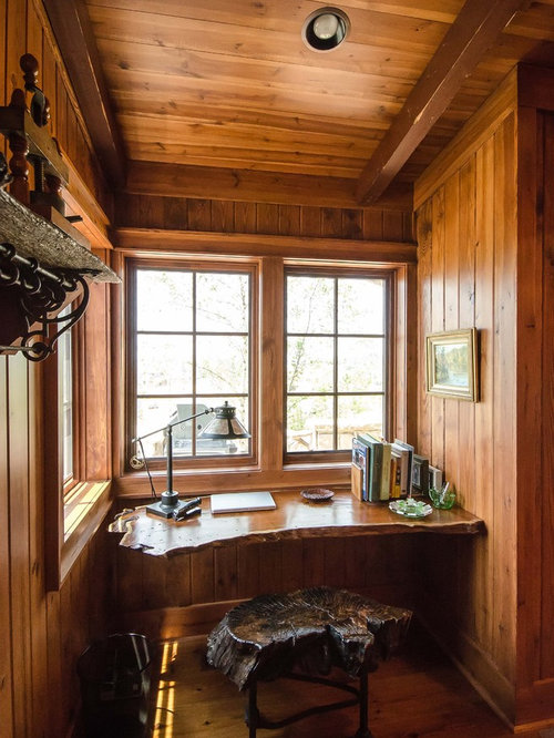 Inspiration For A Rustic Built In Desk Dark Wood Floor Home Office Remodel  In Other