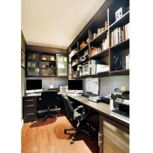 Example of a large zen home office design in New York
