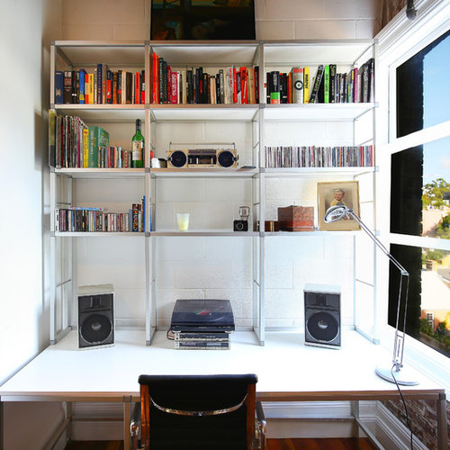 Design Ideas For A Small Contemporary Study Room In Sydney With White Walls  And A Freestanding