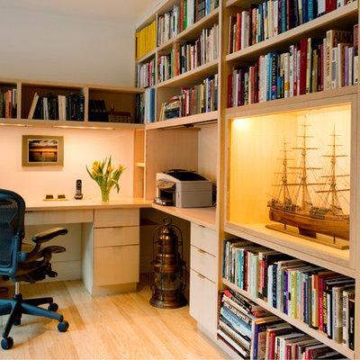 Home office - contemporary built-in desk home office idea in Boston