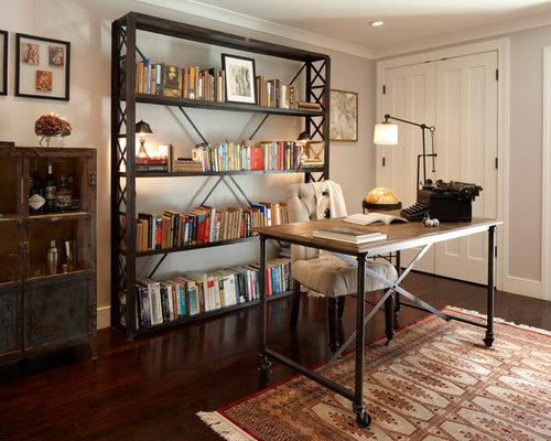 eclectic desk dark wood floor home office idea in san francisco with gray walls
