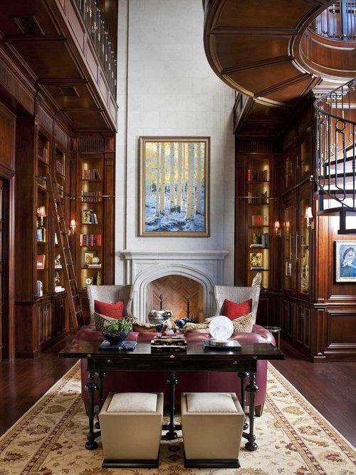 Library fireplace ideas pictures remodel and decor Traditional home library design ideas