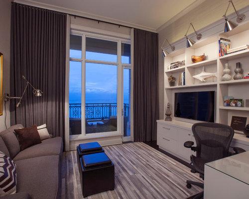 Elegant Contemporary Built In Desk Dark Wood Floor Home Office Idea In Chicago With  Gray Walls