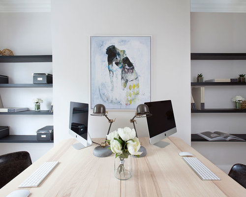 Amazing Contemporary Study In London With White Walls And A Freestanding Desk.