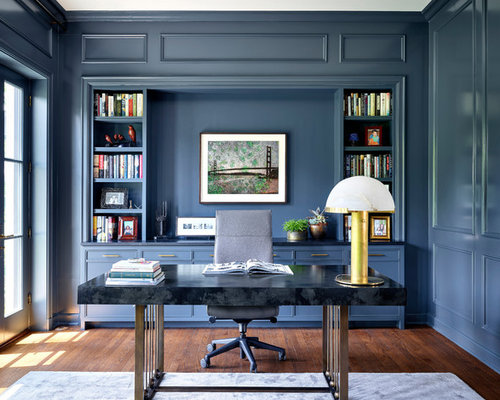 classic home office design. Example Of A Classic Freestanding Desk Dark Wood Floor And Brown Study Room Design In Home Office R