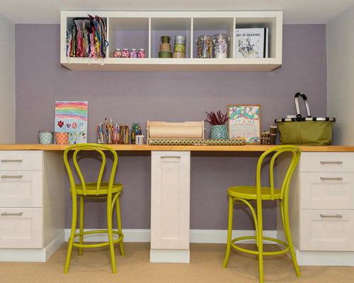 Transitional Home Office Design Ideas Renovations Photos With Purple Walls