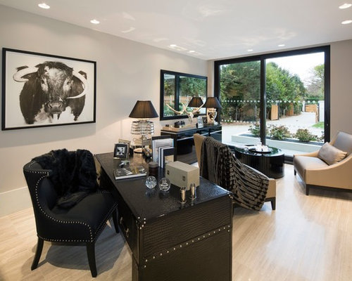 Design Ideas For A Medium Sized Contemporary Study In London With Grey  Walls, Light Hardwood