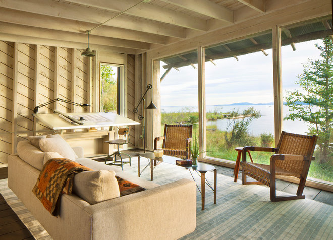 Beach Style Home Office by Pearson Design Group