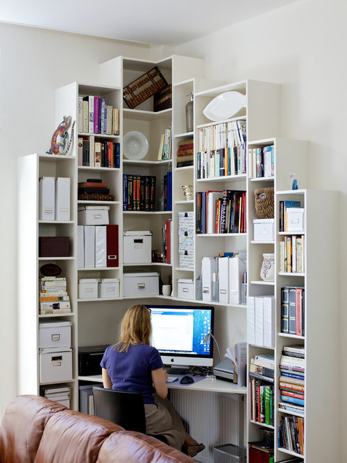 Captivating Inspiration For A Small Contemporary Built In Desk Home Office Remodel In  London With White