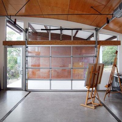 Home studio - modern home studio idea in Austin with white walls