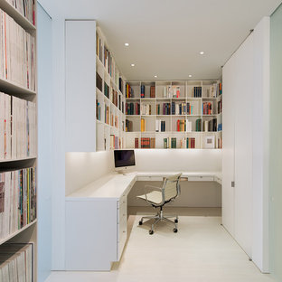 Elegant Example Of A Minimalist Built In Desk Home Office Design In DC Metro With  White