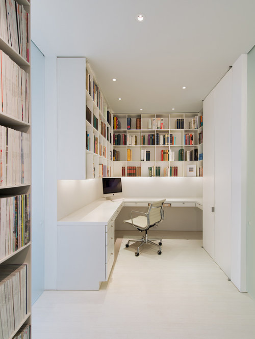 Example Of A Minimalist Built In Desk Home Office Design In DC Metro With  White
