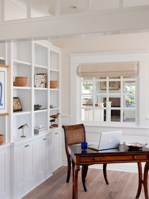Inspiration For A Beach Style Study Room Remodel In San Diego With Beige Walls Light