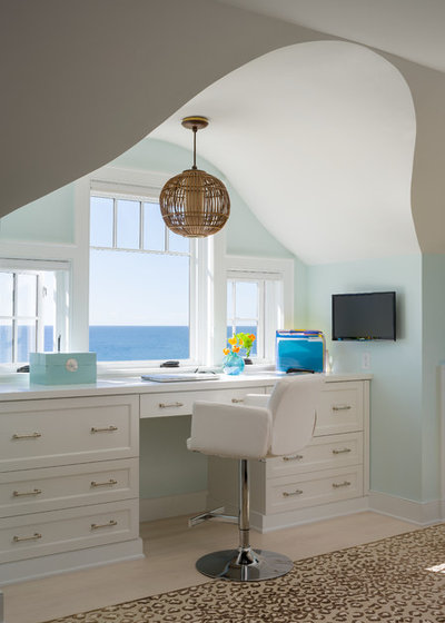 Beach Style Home Office by George Penniman Architects, LLC
