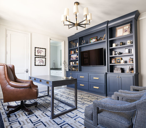 Transitional Home Office by Kingswood Custom Homes