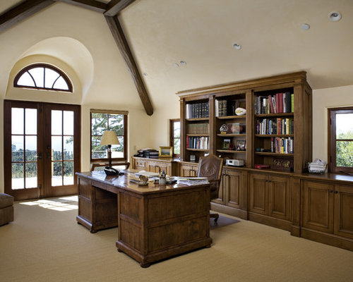 Inspiration For A Timeless Home Office Remodel In Other With Beige Walls Carpet And